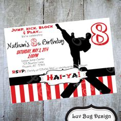 PRINTABLE Karate or Taekwondo Birthday Party Invitation    This is a listing for a 5x7 printable (300 dpi) digital file product (JPEG & PDF) can be