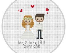 Custom Cross Stitch Wedding Portrait Pattern cotton by Xrestyk