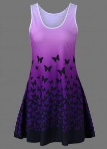 #Gearbest Butterfly Print Ombre Casual A Line Short Tank Dress (615322) #SuperDeals
