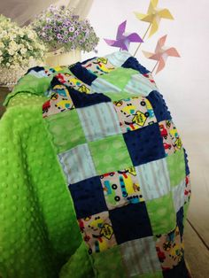 A personal favorite from my Etsy shop https://www.etsy.com/listing/476949735/minky-baby-blanketbaby-boy-beddinglime