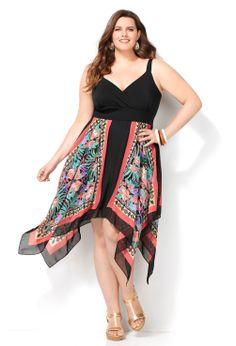 Floral Scarf Print Sharkbite Dress-Plus Size Dress-Avenue
