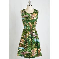 Quirky Mid-length A-line Land Before Sublime Dress ($80) via Polyvore featuring dresses, print dress, mid length dresses, mixed print dress, keyhole dress and pattern dress
