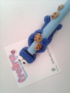 Bolígrafos Decorados en Masa Flexible. Porcelana Fría. Polymer Clay. Fimo. Biscuit. Porcelanicron. Pasta Francesa. Pasta Flexible. Muppets. Monster cookie. Comegalletas.