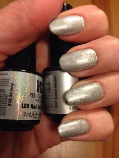 Red Carpet Manicure - Scene Stealer with a layer of So Icey. Silver Nails