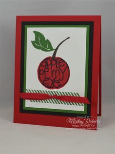 """Blog Post Date:  May 24, 2016.  A simple design with bright colors makes a quick and easy card. This project features the Apple of My Eye and Gorgeous Grunge stamp sets, Real Red 1/4"""" Cotton ribbon, and the eye pleasing colors of Chocolate Chip, Garden Green, and Real Red (with Basic Black for balance)."""