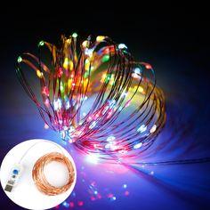 8 mode 33FT LED String 10M 100LED 5M 50LED 5V USB Silver Copper Wire Fairy String Lights Indoor Outdoor christmas wedding decor #Affiliate