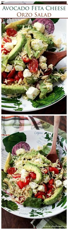 Avocado and Feta Cheese Orzo Salad - Bright, simple, and delicious appetizer salad with Avocados, Feta Cheese and Orzo.