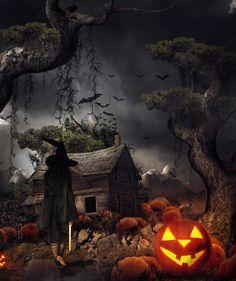 Witch In The Pumpkin Farm by gocer-art on DeviantArt - Dufine Gallaod Retro Halloween, Spooky Halloween, Halloween Painting, Halloween Prints, Halloween Images, Holidays Halloween, Halloween Decorations, Happy Halloween Pictures, Scream Halloween