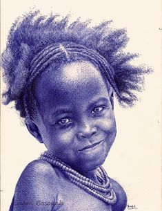Ghana-based artist Enam Bosokah captures incredible likenesses using only a blue ballpoint pen. The stunningly-realistic portrait drawings depict world leaders, writers, as well as children and couples. Amazing Drawings, Realistic Drawings, Amazing Art, Awesome, Pencil Drawings, Art Drawings, Stylo Art, Ballpoint Pen Drawing, Pen Illustration