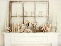 Shabby chic Fireplace mantle |