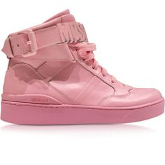 Moschino Shoes Pink Leather High Top Sneaker ($295) ❤ liked on Polyvore featuring shoes, sneakers, pink, leather sneakers, pink high top sneakers, pink shoes, high top sneakers and lace up sneakers