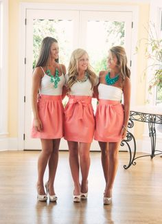 Super cute bridesmaid skirts instead of dresses. Each girl picks out their own blouse. These actually can be worn again! And much less expensive!not for my wedding but maybe for bridal shower? that way people can get to know the wedding party. Bridesmaid Skirts, Coral Bridesmaids, Wedding Bridesmaids, Bridesmaid Outfit, Bridesmaid Necklaces, Bridesmaid Ideas, Dream Wedding, Wedding Day, Casual Wedding