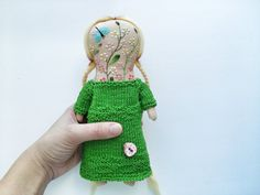 Art rag doll with embroidered face от summerwinedoll на Etsy