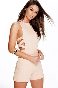 Sofia Lattice Side Textured Fabric Playsuit                                                                                                                                                                                 More