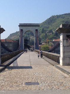Marc Seguin bridge, connecting Touron-sur-Rhone and Tain-l'Hermitage.  #france #bridges