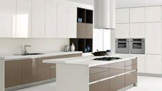 combinacón de blanco y beige en la cocina moderna