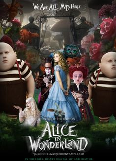 Alice au pays de merveilles /Alice in Wonderland film de Tim Burton, 2010 d'après le roman de Lewis Carroll avec Johnny Depp, Mia Wasikowska et Helena Bonham Carter, production Walt Disney Pictures & The Zanuck Company.