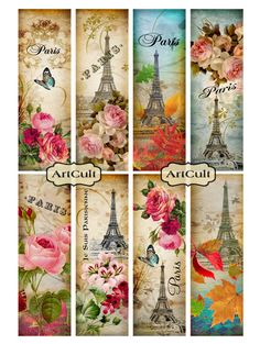 Printable Download PARIS BOOKMARKS Digital Collage Sheet Ephemera Vintage Paper…