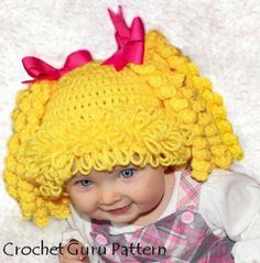Crochet Cabbage Patch Kid Inspired Hat Pattern - 6 Sizes - Baby to Adult… Crochet Kids Hats, Crochet Cap, Crochet Amigurumi, Crochet Baby Clothes, Crochet Beanie, Crochet Crafts, Crochet Projects, Booties Crochet, Cabbage Patch Kids