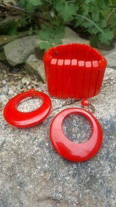 Bakelite cherry red bracelet and dangle hoop earrings