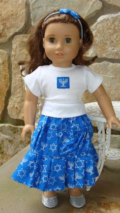 Hanukkah 3 piece set for American Girl Doll, 18 inch, White Top, 3 tier Skirt and Pony O Headband & FREE SHIPPING. $20.00, via Etsy.