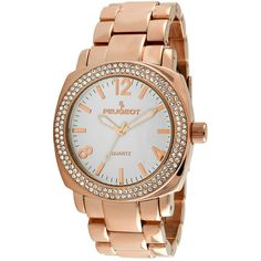 Peugeot Womens Crystal-Accent Rose-Tone Boyfriend Bracelet Watch ($84) ❤ liked on Polyvore featuring jewelry, watches, peugeot, leather-strap watches, bezel jewelry, watch bracelet and water resistant watches