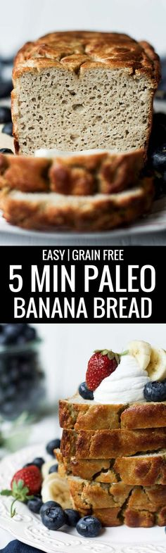 Gluten free, Grain free, and Paleo, this easy to make bread is made in 5 minutes and then it's in the oven. Soft, moist, and full of flavor. This healthy banana bread has NO SUGAR and is only naturally sweetened and delicious!