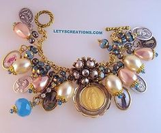 Catholic Virgin Mary OL Miraculous Medal Saints Religious Charm Bracelet | eBay www.letyscreations.com #catholic #jewelry #virginmary #miraculousmedal #religious
