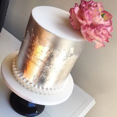 Silver cake with peony sugarflower