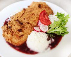 Denné menu Vranov | Vyprážané kuracie prsia v mandliach v brusnicovej omáčke, dusená ryža - reštaurácia Hotel Patriot*** #hotel #restaurant