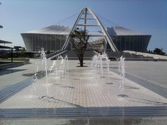 The view of Moses Mabhida Stadium from the fountain area in front of People's Park Marina Bay Sands, Playground, South Africa, Fountain, Ocean, Park, City, Beach, Travel