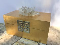 Brushed Gold Box,large Crystals box,Jewelry Display,Remote box,Quartz Decor,Home Décor,Mother's Day Gift,gold storage box,decorative box by CsDezigns on Etsy