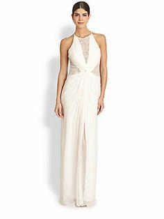 So perfect. BCBGMAXAZRIA Maxine Lace-Inset Silk Gown.