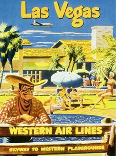 Western Air Lines Airlines vintage Las Vegas travel poster  Vegas Vic