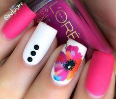 uñas neon con flores diseño 2016
