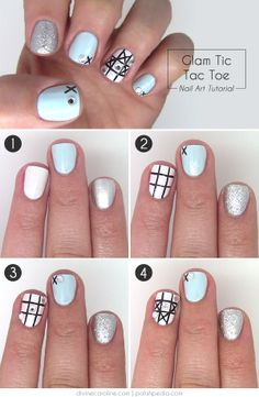 Game night. Girl's night. Either or both. This tic-tac-toe mani has got you covered! #mani #manicure #games