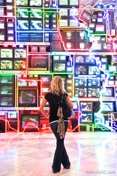 Smithsonian American Art Museum, Washington DC-- Electronic Super Highway by Nam June Paik. Weirdly charming