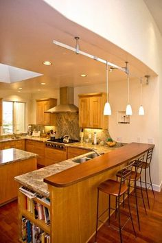 Kitchen Bar Counter Ideas Fresh Peninsula with Granite Counter and Wood Bar Kitchen Design Small, Replacing Kitchen Countertops, Kitchen Design, Kitchen Renovation, Modern Kitchen, Outdoor Kitchen Countertops, Kitchen Bar Design, Bar Countertops, Kitchen Furniture Design