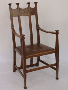 Arts & Crafts Arm Chair by GM Ellwood c.1900  This elbow chair in oak is a beautiful, elegant example of Arts & Crafts design