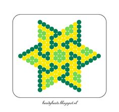 Beady Beads - Star 4f. Perler / Hama / Fusion / Melty / Pyssla Beads. Free Pattern Card! Visit my blog for more free patterns.