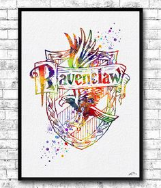 Ravenclaw Crest Watercolor Print Harry Potter Fine by ArtsPrint