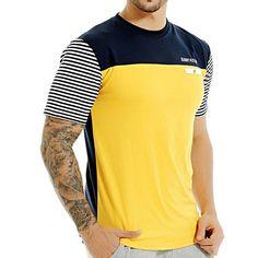 Striped Pattern Broadcloth Fabric T-Shirt For Men. #Mentshirt #ShopOnline #MehdiGinger