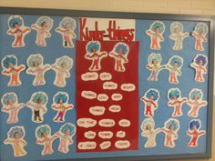 Dr. Seuss bulletin board for the hallway.  Thing One and Thing Two are the…