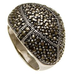 Art Deco Sterling Silver Marcasite Cluster Geometric Ring $24.00