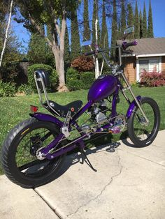 Photos of custom motorized bicycles.See OCC Schwinn Stingray choppers we've motorized.Also rat rods & cruisers, e-bikes or ones with gas and electric motors. Bike Chooper, Tricycle Bike, Cruiser Bicycle, Motorized Bicycle, Bmx, Motocross, Gas Powered Bicycle, Motorcycle Towing, Chopper Frames