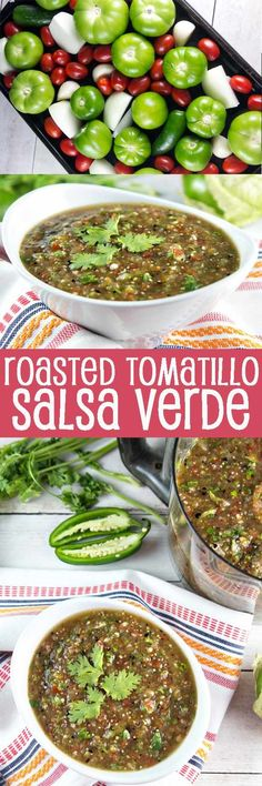 Roasted Tomato Salsa Verde: fire roasted tomatillos and cherry tomatoes pair beautifully with spicy jalapeno, onion, and garlic in this non-traditional salsa verde. A little sweet, a little tangy, a little spicy - all delicious. {Bunsen Burner Bakery} via Tomatillo Salsa Verde, Roasted Tomatillo Salsa, Salsa Picante, Roasted Salsa Recipe, Salsa Verde Recipe, Mexican Dishes, Mexican Food Recipes, Dinner Recipes, Vegetarian Mexican