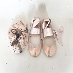 b4dd951b6553 Ballet Flats Shoes in Rose Gold Leather With Satin Ribbons Satin Ribbons