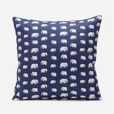 Kudde Elefant - 40x40 cm, Lin, Elefant, Blå | Svenskt Tenn