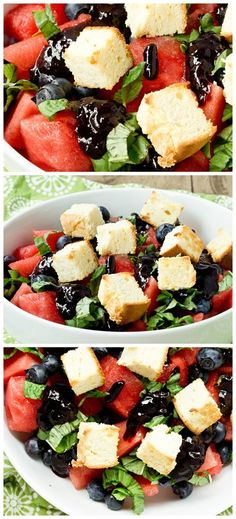 Watermelon Salad with Lemon Cake Croutons and Blueberry Balsamic Glaze - Keep It Sweet Desserts - did you hear that people? Best Fruit Salad, Watermelon Salad, Entree Recipes, Side Dish Recipes, Side Dishes, Dessert Recipes, Sweet Desserts, Sweet Recipes, Healthy Cooking