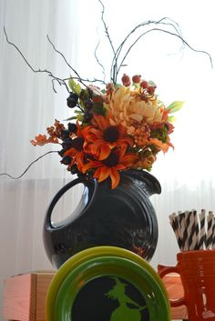Halloween inspired Arrangement in a Fiesta Disc Pitcher in Slate.